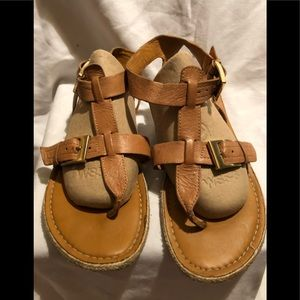 Franco Sarto ZANY Leather Tan Sandals Sz 6.5 EUC